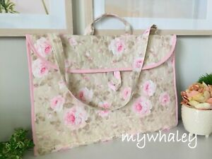 PORTFOLIO BAG Laptop Case Dutchess PiNK ROSes made w/Simply Shabby Chic fabr NEW