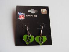 SEATTLE SEAHAWKS Football GREEN 12th MAN Color Heart Charm NFL Dangle Earrings