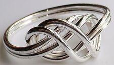 bracelet bijou rétro couleur argent rodié  rigide déco grand noeud relief A19
