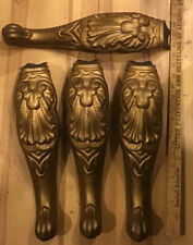 """Set of 4 Ornate Cast Iron Legs Curved Metal Gold Table Furniture Antique 15"""""""