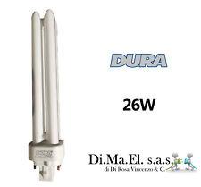 5 X LAMPADA A BASSO CONSUMO DURALAMP COMPATTA NEON 26W LUCE CALDA G24q-3