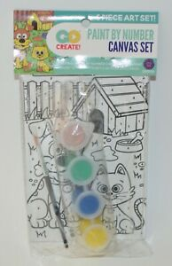 GO CREATE ANIMALS CAT DOG PAINT BY NUMBER CANVAS SET 6 PIECE BEGINNER KIDS KIT
