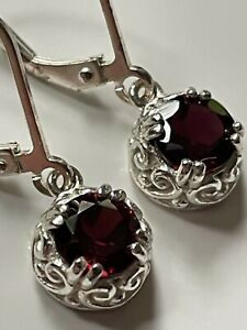 Vintage style sterling silver '925' and garnet stone droplet dangly earrings