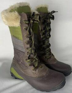 Merrell Winterbelle Waterproof Boots Womens Sz 8 Insulation Green Brown Faux Fur