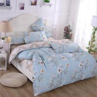 Blue Floral Bedding Set Cotton Bed Duvet Quilt Doona Cover Set Single Queen King