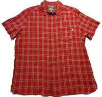 Woolrich Mens Red Plaid Short Sleeve Button Up Casual Shirt Size XL