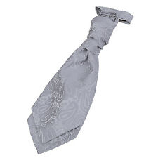 DQT Woven Paisley Silver Formal Wedding Pre-Tied Boys Cravat Free Pin