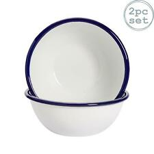 """White Enamel Cereal Bowls 6"""" Retro Camping Outdoor Tableware Bowl x2"""