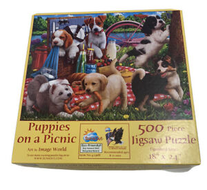 """SunsOut Puppies On A Picnic 500 Piece Jigsaw  Puzzle 18"""" X 24"""""""