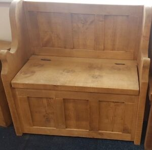 Solid Wood Rustic Chunky Plank Wooden Monks Bench with Lift up Storage Lid
