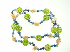 Vintage Green Zebra Mother Pearl Peach & Blue Baroque Freshwater Pearl Necklace