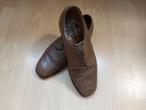 LOAKE MENS BROWN LEATHER PATTERNED SHOE SIZE 8