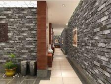 Grey 3D Brick Effect Wallpaper Slate Weathered Stone Realistic Paste Paper UK