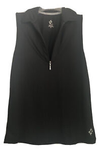 Jofit Women's Black Sleeveless Athletic Golf Shirt Top Size MED