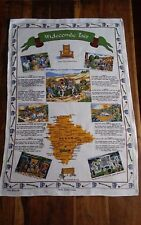 Vtg irish linen old bleach tea towel Widecombe Fair Devon Tom Cobley verses poem
