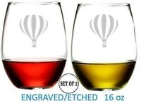 Hot Air Balloon Stemless Wine Glasses / Set of 2 / Etched Engraved 16 Oz