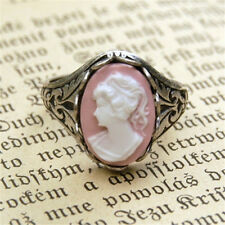 Women 925 Silver Pink& White Moonstone Fashion Birthstone Girl Face Ring Size 8