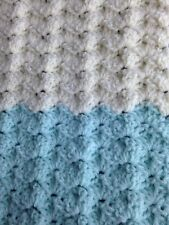 "Handmade Afghan Pastel Square Knit Wheelchair Baby Lap 27x41"" Crochet Throw"