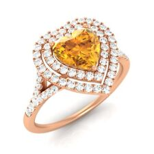1.02CT SOLID 14K ROSE GOLD STUNNING HEART-CUT NATURAL CITRINE & SI DIAMOND RING