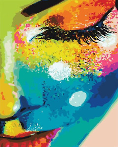 Colorful Half Face Girl Canvas Picture Acrylic Oil DIY Paint Set by Numbers Kits