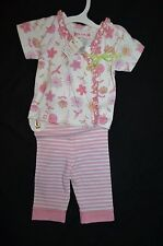 NWT $44.95 Baby Lulu Floral & Stripe Capri Set/Outfit Size 6 Months