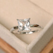 2ct Princess Cut Solid 14K White Gold Solitaire Engagement Promise Ring
