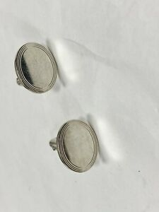 Tiffany & Co 925 Sterling Silver Oval Classic Engine Turned Cufflinks Cuff Links