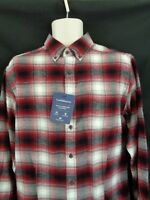 NWT Croft & Barrow Red black plaid flannel long sleeve shirt men's S