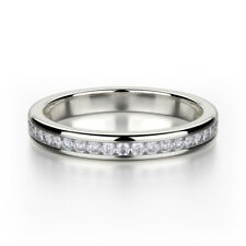 Diamond Ring Size 8 9 0.26 Carat Round Channel Half Eternity Ring 18k White Gold