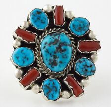 Ring By Navajo Artist Pearlene Spencer Size 6, Kingman Turquoise & Coral Cluster