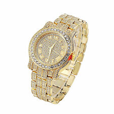 Hot Selling! Men's Hip Hop Iced Out Lab Crystal Gold Watch by Aventura Jewelry