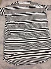 Lularoe Irma Tunic Shirt Sz XXS Black White Thin Wide Stripe