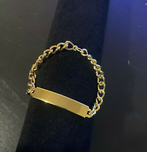 """18k Gold Plated Tag ID Identification Bracelet for Toddlers or Children 5"""""""