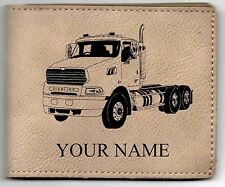 Sterling Truck Leather Billfold With Drawing & Your Name On It-Nice Quality