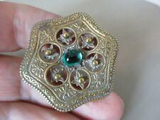 Deco Green Glass Cab Brooch Pin Pretty Antique Vintage Czech Glass Art Nouveau