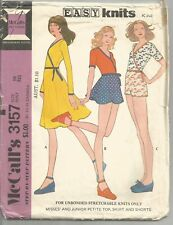McCall's Sewing Pattern 3157, Vintage Wrap Top, Skirt, Shorts for Knits, Size 10