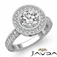 3ct Round Diamond Bezel Halo Set Engagement Ring GIA F Color VS2 14k White Gold