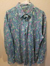 Alan Flusser Men's  Multi-Color Paisley Button Up Long Sleeve Shirt Size L CLEAN