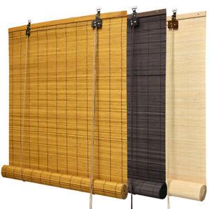 Bambus Rollo Natur Bambusrollo Holzrollo Sichtschutz Braun Jalousie Raffrollo