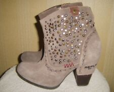 Ladies Replay Taupe Grey Suede Studded Ankle Boots UK 4 EUR 37