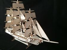 Laser Cut Wooden Clipper Sail Ship 3D Model/Puzzle Kit