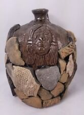 One Of A Kind Mike Hanning Pottery Native American Face Jug w/ Timucuan Pieces