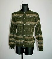 Vtg ST Peter Womens Jumper Wool Cardigan Jacket Fairisle Nordic Austria Size M