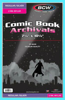 25 BCW SILVER / REGULAR MYLAR 2 MIL COMIC BOOK BAGS Clear Archival Safe Storage