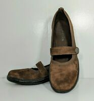 Women's Clarks Brown Suede Leather Mary Jane Loafers Slip-on Size 7M