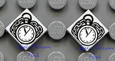 NEW Lego Lot/2 Minifig POCKET WATCH 1x1 GRAY TILES w/Clock Chain - Lone Ranger