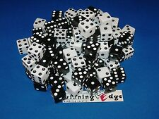 NEW 12 ASSORTED OPAQUE DICE 16MM BLACK AND WHITE, 2 COLORS 6 OF EACH COLOR