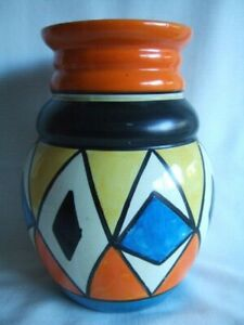 Clarice Cliff, Newport Pottery.  Bizarre Vase.. Geometric - Blue, Yellow, Orange