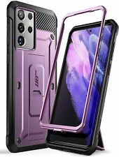 For Galaxy S21 Ultra 5G, SUPCASE Shockproof TPU Bumper Case Kickstand Clip Cover