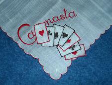 Canasta Cards Ladies Hanky Embroidered Handkerchief Vintage